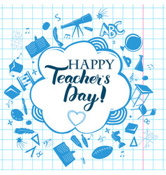 happy teacher day inscription vector image