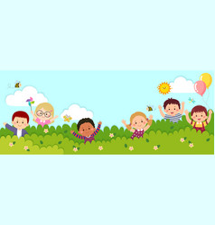 Horizontal banners with happy kids vector