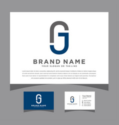 Initials gj logo with a business card vector