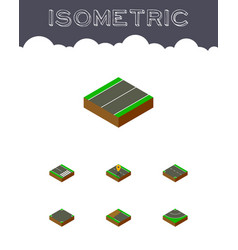 isometric road set of footpassenger down asphalt vector image