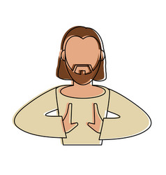 jesus face cartoon vector image