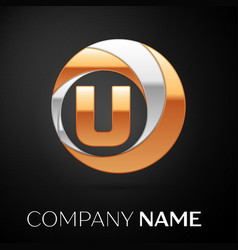 letter u logo symbol in the golden-silver circle vector image