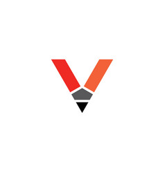 letter v pencil logo icon element vector image