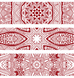 line art pattern textured banner border set vector image