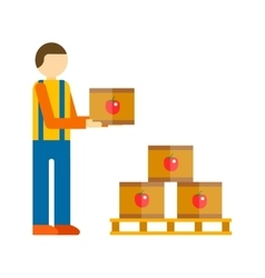 Loader man with boxes vector