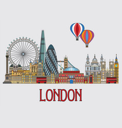 london colorful line art 2 vector image