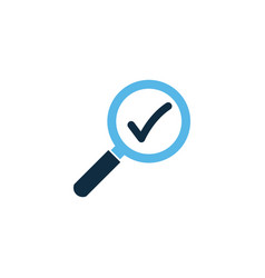 magnifying glass with check mark icon on white vector image