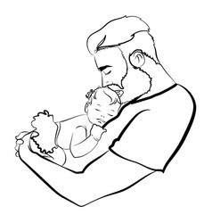 man with a child logo young father vector image