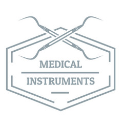 Medical instrument logo gray monochrome style vector