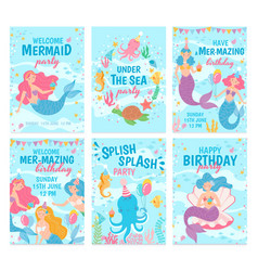 mermaid cards mythical cute princesses and sea vector image