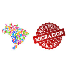 Migration composition mosaic map brazil and vector