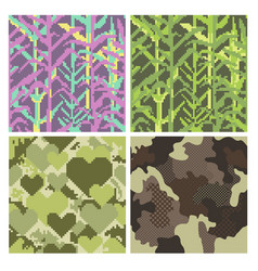 Military pixelate seamless pattern set with grass vector