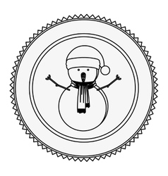Monochrome contour circle with snowman with scarf vector