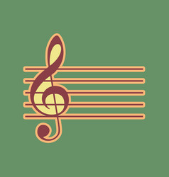 Music violin clef sign g-clef cordovan vector