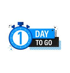One day to go timer label blue emblem banner vector
