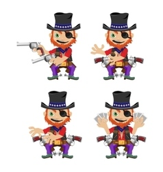 One-eyed bandit with guns character in four poses vector image