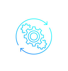 Operations line icon with cogwheels vector