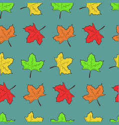 Pattern with cute maple leaves on blue background vector