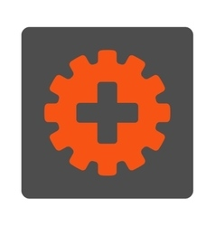 Plus Gear Flat Button vector image