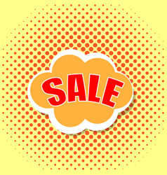 pop art comics cloud banner with the word sale vector image