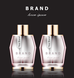 Realistic pink perfume bottles mock up vector