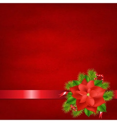 Red Background With Poinsettia And Ribbons vector