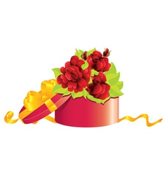 Roses in gift box vector image