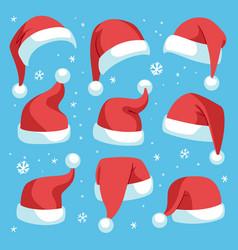 santa hats red christmas santa hat design set vector image