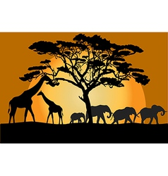 Savannah landscape with animals vector