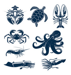 Seafood marine animal icon set for food design vector
