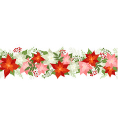 seamless christmas border with poinsettias holly vector image