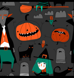 Seamless pattern with halloween characters on gray vector