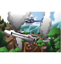 Search and rescue for airplane crash vector