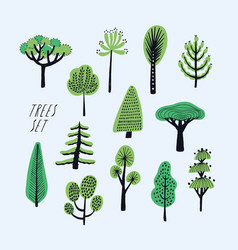Set cartoon doodle trees beautiful hand drawn vector
