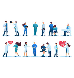Set characters medical staff and patients vector