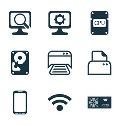 Set of 9 computer hardware icons includes printed vector