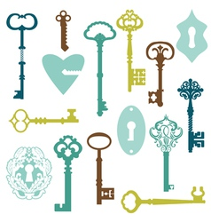 Set of Antique Keys and Locks vector image