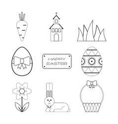 Set of Easter outline flat icons Collection vector