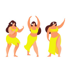 Set of hawaiian hula dancer vector