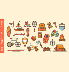 Set summer recreation and camping icons vector