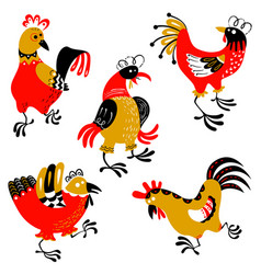 Set with decorative roosters isolated farm pets vector