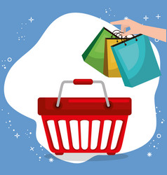 shopping basket with marketing set icons vector image