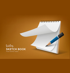 Sketch white book with pencil template design vector