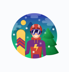 Smiling snowboarder in helmet with snowboard vector