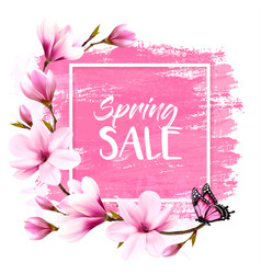 spring sale background with pink blooming vector image