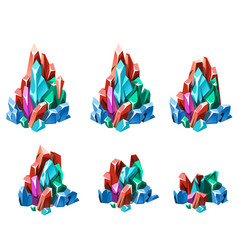 stage of formation of multicolored crystalline vector image