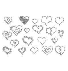 stylized line art hearts set vector image