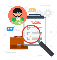 Tax inspector with magnifier and check list vector