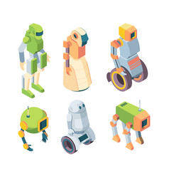 Technological robots helper future isometry set vector