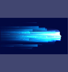 technology face figure with blue light streaks vector image